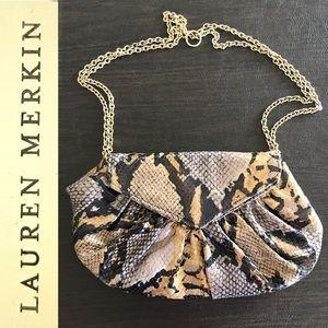 NWOT LAUREN MERKIN Rare Diana Cobraprint Clutch